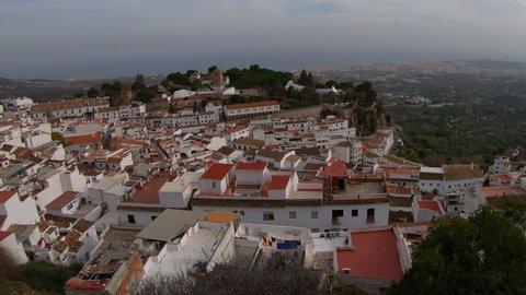 View over Mijas Pueblo on Costa del Sol with coastal resort Fuengirola in the distance.