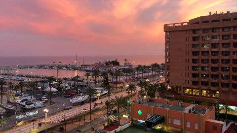 Fuengirola / Spain / February 23, 2019: View of the harbour and beach boulevard of Fuengirola in Spain.
