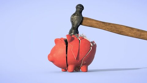Piggy bank destroyed by a hammer in slow motion. 3D Animation.