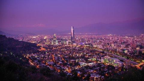 Timelapse of Santiago skyline at Dusk, Chile