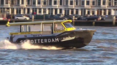 ROTTERDAM, THE NETHERLANDS - 2016, February 6th   Shot Of Rotterdam River Boat