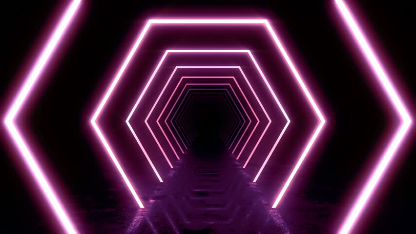 Abstract background with animation of flight in abstract futuristic tunnel with neon light. Animation of seamless loop.  | Shutterstock HD Video #1025051084