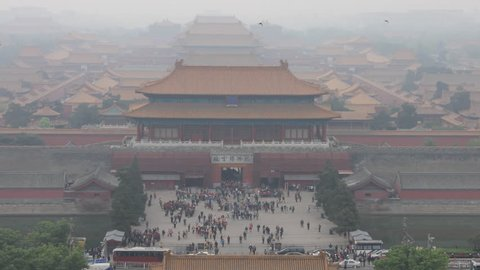 Timelapse of the exit to forbidden city in Beijing.