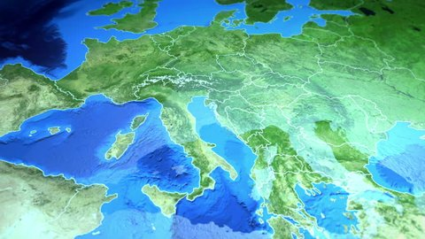 Croatia marked by a pin on the map of Europe. 3d render, motion above the map, view from top with the approach and zoom. Animated pin mark country on the geographic map. Background for travel intro.