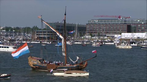 Sail Amsterdam 2015 was the ninth edition of the sail event Sail Amsterdam.  This ship was filmed close to the KNSM shipyard. It is a one-master. It looks like a pirate ship with a Dutch flag.
