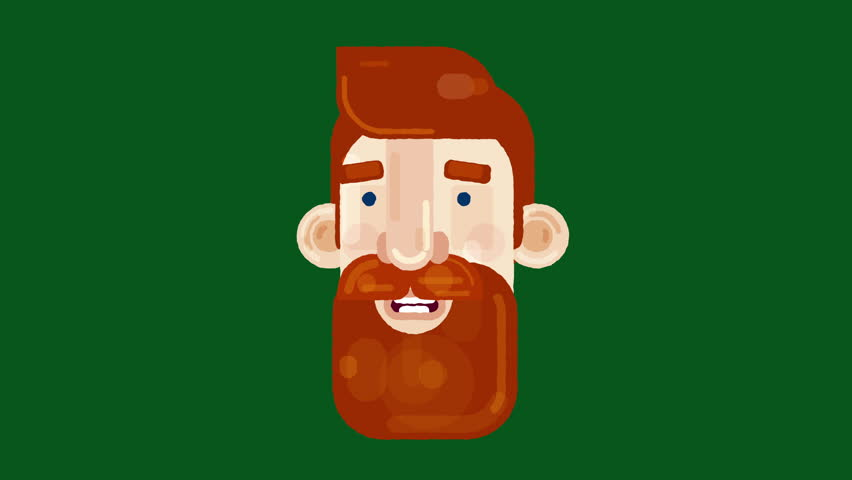 2D vector animated portrait of a red head man with a beard, talking and looking around. Usable for presentations, made in 4K + Alpha channel.