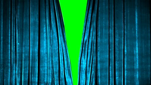 Real Velvet Cloth Stage silk Curtain open on green screen. Curtain For theater, opera, show, stage scenes. This opening curtain are shooted on Red Camera - slow motion. Real Cinematic Curtain.