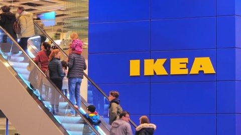 LUBECK, GERMANY- JANUARY 12, 2018 : IKEA, Entrance to the store, the furniture Store in Lubeck, Germany