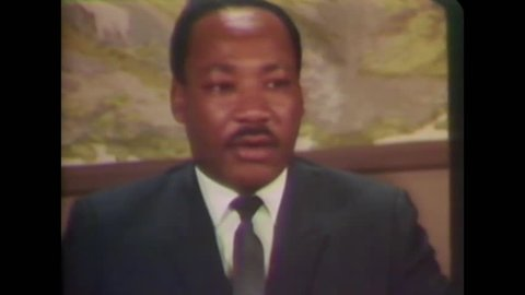 CIRCA 1968 - In an interview with the press, Martin Luther King explains the methods of tactical non-violence. -