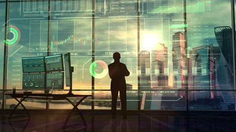 Successful trader and infographics in augmented reality