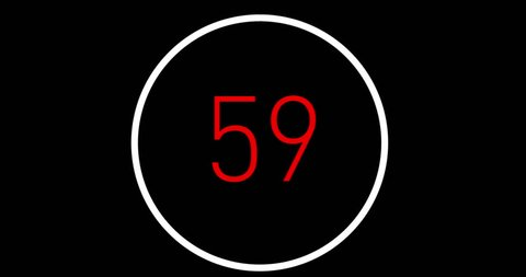 Countdown by one minute up to 0, hitech graphics on black background with cursor and time scroll bar. Flat and modern design with bright colors. Count Down in 4K from 60 to 0