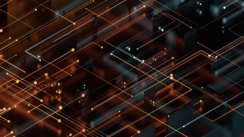 Isometric 3d render abstract reflective background with particles that goes to center from the opposite side. Two side particle emission. Digital theme. | Shutterstock HD Video #1025376224