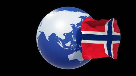 Norway flag.Norway independence day. 3d animation Norway Flag day. luma matte,alpha matte. 4k Norway national day.loop.