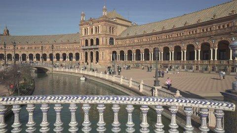 Plaza de Espana building in Maria Luisa park, Seville - October 2018: Seville, Spain