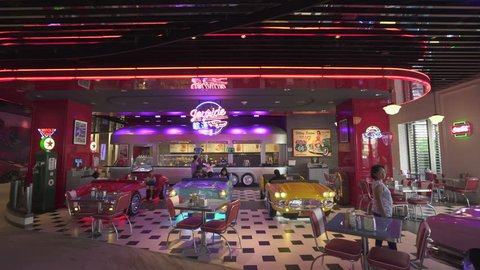 50s american style bar and diner in Studio City hotel and casino - October 2018: Macau, China