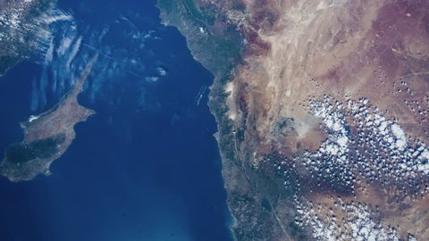 Time lapse of earth revolving viewing from NASA International Space Station (ISS) Cyprus - Palestine -Israel Middle East countries- images courtesy of NASA.