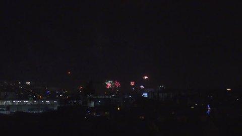 Multiple fireworks exploding slow motion