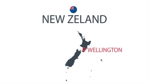 New Zealand country map animation. Cartoon country map animation.