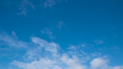 Beautiful white clouds time lapse against deep blue sky in summer. Clouds moving towards camera.