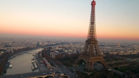 Aerial Drone Of Tour Eiffel Tower Seine River And Panoramic View Of Paris City Buildings Architecture