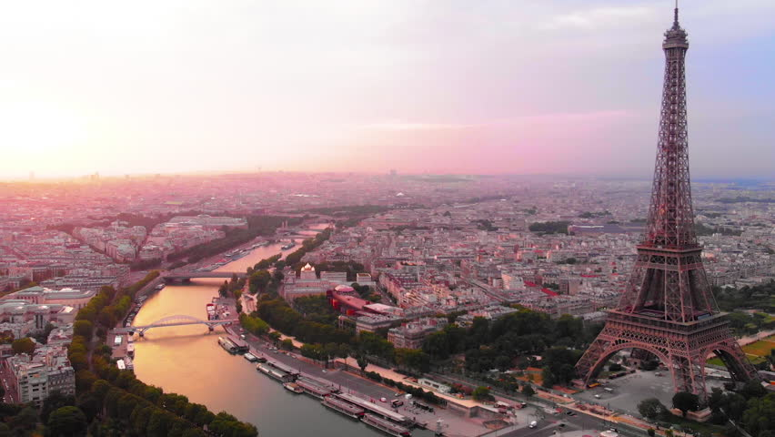 Aerial view to Eiffel tower and Seine´river at sunrise, Paris, France | Shutterstock HD Video #1025505164