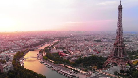 Aerial view to Eiffel tower and Seine´river at sunrise, Paris, France