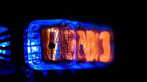random numbers change on the numerical counter, on Gas discharge indicator, Nixie tube