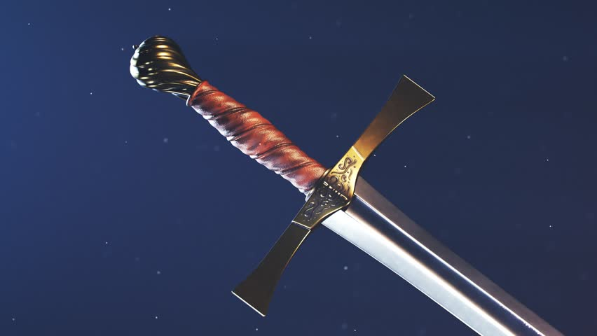 A medieval sword against dark blue background with particles. Diagonal presentation of a cold steel blade with a leather handle and brass decorations. Weapon, blade, knight, battle equipment