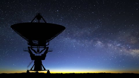 radio telescope searching the skies at dawn with milky way - 3d animation.