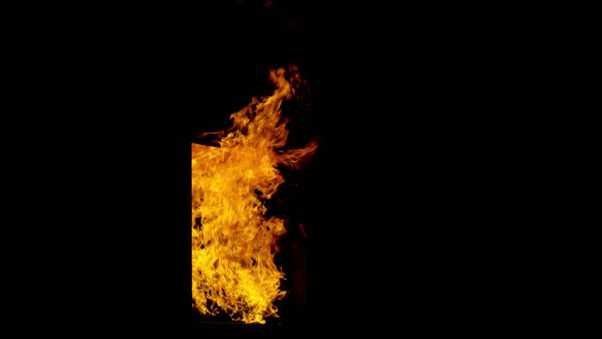 Extreme close up of orange blaze creating random pattern in
