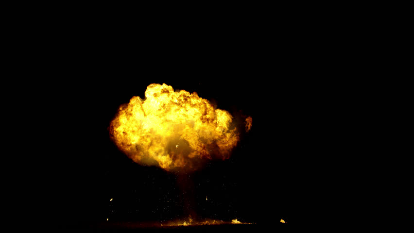 Giant real gas explosion professionally filmed VFX on black overlay for compositing. 4K RED | Shutterstock HD Video #1025550134