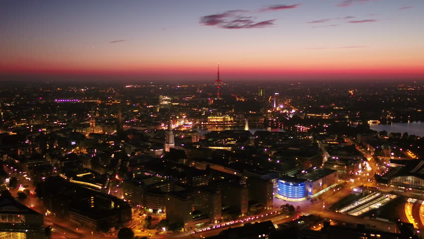 Aerial Germany Hamburg June 2018 Night 30mm 4K Inspire 2 ProresAerial video of downtown Hamburg in Germany at night.