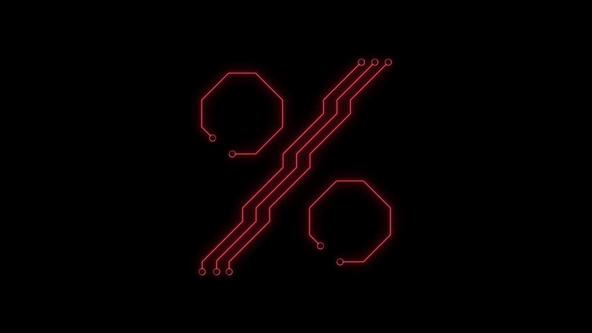 Animated red neon glowing percent symbol as circuit board style on transparent background for titles, intros, logo. Seamless loop. Circuit board concept. 4k video. Alpha channel include | Shutterstock HD Video #1025586824
