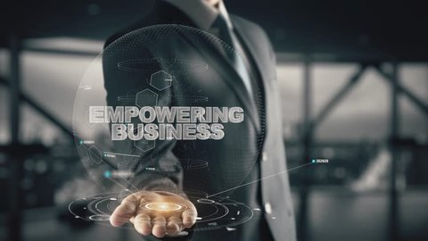 Empowering Business with hologram businessman concept