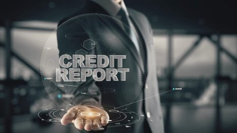 Credit Report with hologram businessman concept