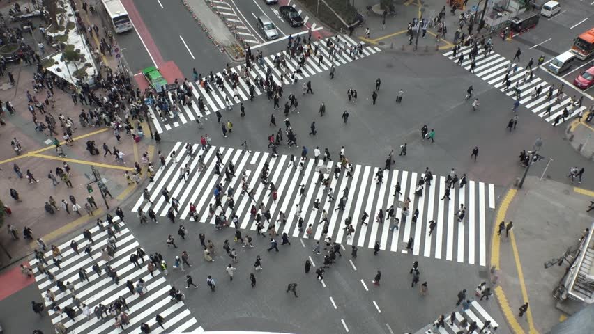 SHIBUYA,  TOKYO,  JAPAN - CIRCA MARCH 2019 : Aerial view around SHIBUYA scramble crossing.  Busy crowded area in Tokyo.  Wide view slow motion shot. | Shutterstock HD Video #1025659034