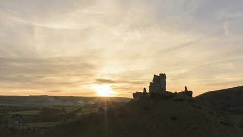 Time-lapse footage of sunset over Corfe and the Purbeck Hills, Dorset, UK