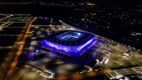 Russia, Kaliningrad - September 20, 2018: Aerial night view stadium Kaliningrad - football stadium in Kaliningrad, built in 2018 for the matches of the 2018 FIFA World Cup, From Drone, Point of inter