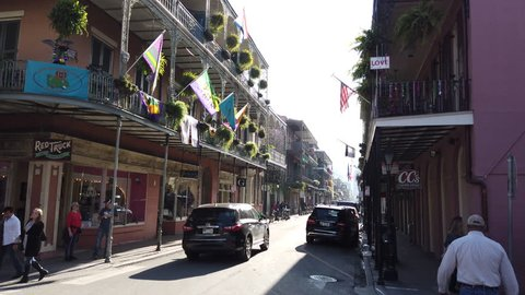 New Orleans, Louisiana, USA - February 2019 - Views of the French Quarter in the weeks leading up to Mardi Gras and the arrival of tourists for the biggest party