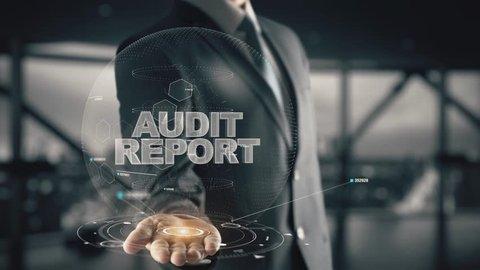 Audit Report with hologram businessman concept