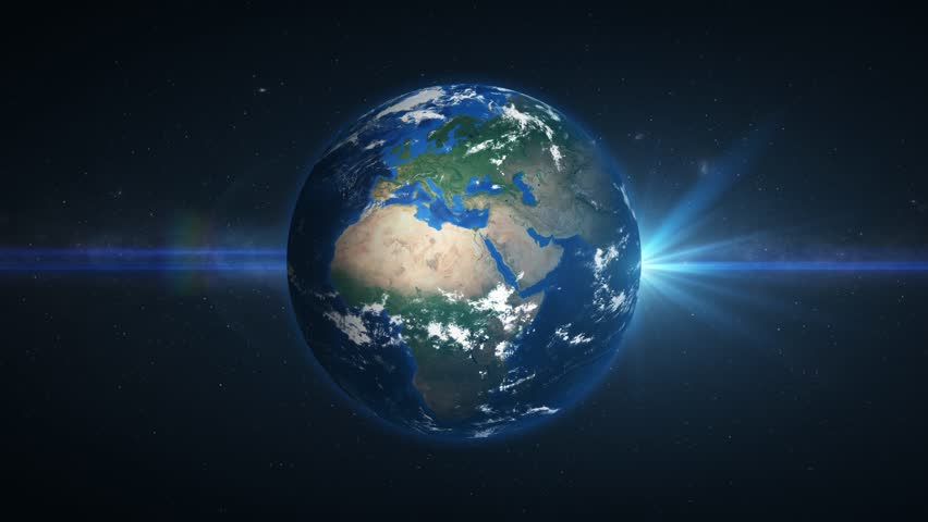 3D Earth loop rotation in space with lens flare effects. 4K resolution. Realistic and very high quality. Seamlessly loopable.  | Shutterstock HD Video #1025816384