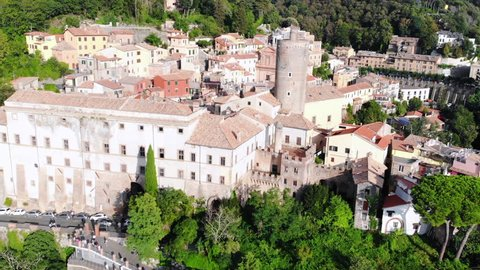 Aerial view of amazing landscape of the old town Nemi near a Rome. One of the most favorite tourist destinations in Lazio, Italy.