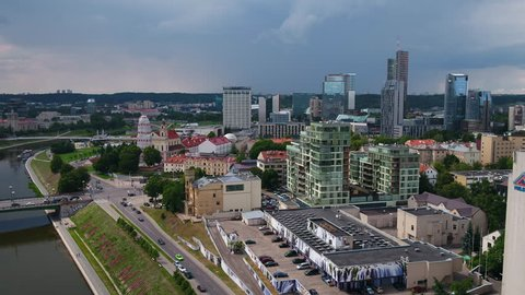 Aerial Lithuania Vilnius June 2018 Sunny Day  Aerial video of downtown Vilnius in Lithuania on a sunny day.