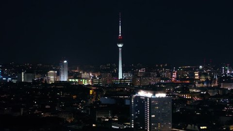 Aerial Germany Berlin June 2018 Night 90mm Zoom 4K Inspire 2 Prores  Aerial video of downtown Berlin in Germany at night with a zoom lens.