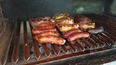 Argenine barbacue or asado with meat and chorizo