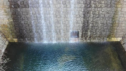 Aerial Drone Footage of Kurogoedani (Kurogoe Valley) Reservoir-Style Check Dam in Mt. Rokko (Rokkosan), Hyogo, Japan.