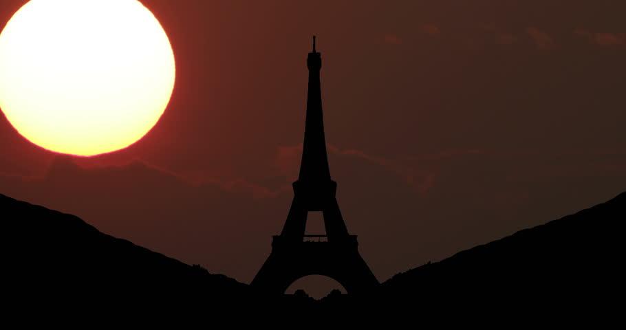 Paris, Eiffel Tower Silhouette at Sunset Timelapse   Shutterstock HD Video #1025842274