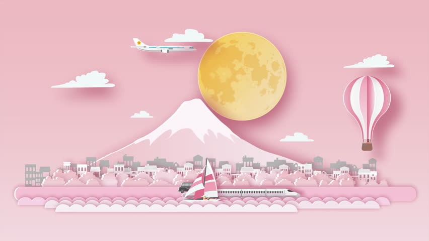Japan Fuji cherry blossoms travel background video animation ,flat cartoon and paper art landmarks concept, motion graphic  background | Shutterstock HD Video #1025844494