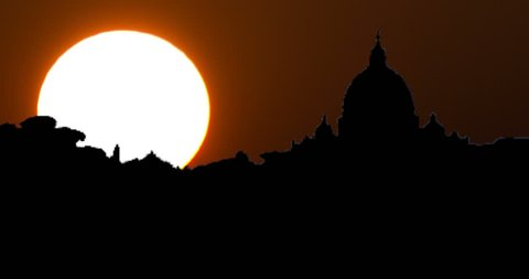 Vatican San Pietro Chapel in Rome Silhouette at Sunset Timelapse