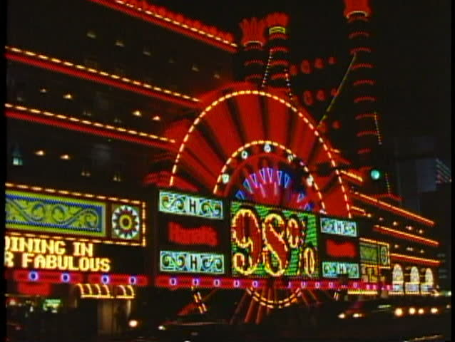 LAS VEGAS, NEVADA, 1994, Night on the Strip, Harrah's Showboat neon sign